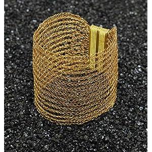 24ct Armreif, vergoldetes Armband, gestricktes, breites Armband aus Draht