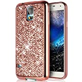 Galaxy S5 Mini Hülle,Galaxy S5 Mini Hülle Glitzer,Glänzend Glitzer Bling Diamant Weich Überzug TPU Bumper Handy Hülle Tasche Metallic Chrom Bumper Handyhülle Schutzhülle für Galaxy S5 Mini,Rose Gold