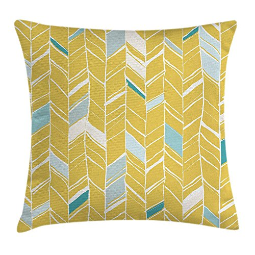 fjfjfdjk Herringbone Pattern Zig Zag Lines in Hand Drawn Doodle Art StyleYellow Chevron Throw Pillow Cushion Cover Decorative Square Accent Pillow Case 18 X 18 inches Pale Blue Mustard Line-palm Protector