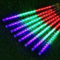 Outdoor Lights,LED Meteor Shower Rain Lights, Waterproof Garden Lights 30cm 8 Tubes 144leds Snow Falling Raindrop Icicle Cascading Light for Holiday Wedding Xmas Tree Decor