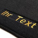 Auto Fußmatten 1K / 5K Velour, Bestickt mit Wunschtext, 2-teilig vorne, Gold Glanzeffekt