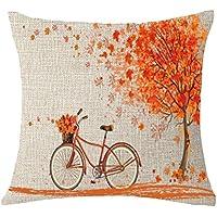 Fossrn Fundas Cojines 45x45 Arboles Hoja de Arce Bicicleta Funda de Almohada Decorativo18x18 (01)
