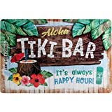 Nostalgic-Art 22251 Open Bar Plaque en métal, Motif Tiki Bar 20, x 30 cm