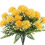 Nahuaa Künstliche Blumen, 4 Pcs Kunstblumen Deko Badzimmer unechte Blumen Löwenzahn-Strauch für Party Hochzeit Wohnung(Gelb)