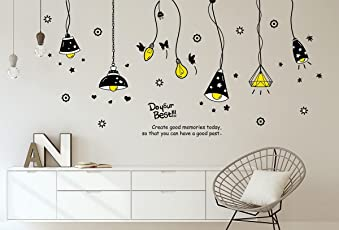 Amazon Brand - Solimo Wall Sticker for Living Room (Light on!, Ideal Size on Wall: 175 cm x 85 cm)