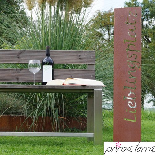 prima terra lieblingsplatz gartenstele edelrost stele. Black Bedroom Furniture Sets. Home Design Ideas