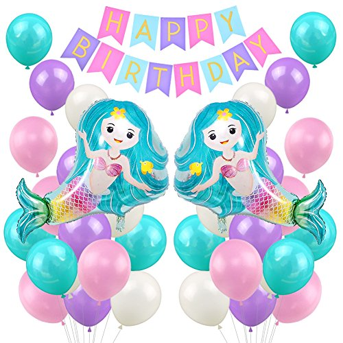 LUCK COLLECTION Mermaid Birthday Party Supplies Meerjungfrau Folie Ballons Alles Gute zum Geburtstag Banner für Mädchen Geburtstag Party Baby Dusche Bridal Shower Dekorationen (Lila Bridal Shower Dekorationen)