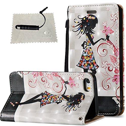 Hülle für iPhone 5 / 5S /SE Leder Hülle, SchutzHülle Wallet Flip für iPhone 5 / 5S /SE, Case Glitter SchutzHülle Cover Wallet Case Hülle Magnet Leder Hülle Schutz für Weiblich - Hübsches Mädchen