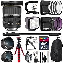 Canon EF-S 10-22mm USM Lens + 0.43X Wide Angle Lens + 2.2X Telephoto Lens + LED Kit + Video Stabilizing Handle + UV-CPL-FLD Filters + Macro Filter Kit - International Version