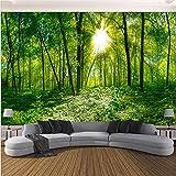 Guyuell Gewohnheit Irgendeine Größe Wandbild Tapete 3D Natur Landschaft Grün Wald Sonnenschein Fotowand Papier Wohnzimmer Hintergrund Wandbeläge-450Cmx300Cm