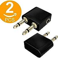 Act 2 x Premium Vergoldete Flugzeug-Adapter Konverter für Kopfhörer/Kopfhörer, konvertiert Zwei 3,5 mm Buchse auf einen 3,5 mm Mono-Klinkenstecker, konvertiert Flugzeug-Audio-Buchsen