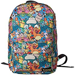 Bioworld POKEMON All-over Characters Print Backpack Mochila tipo casual, 45 cm, 15 liters, Varios colores (Multicolour)
