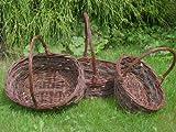 Bügelkörbe oval aus Weide und Reisig ohne Folie Set 1-3 Stück