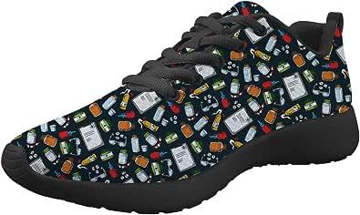 Woisttop, scarpe da jogging casual, con lacci, scarpe da ginnastica per adulti, unisex, leggere e floreali