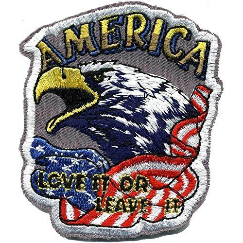 Applikation Patches Aufnäher Abzeichen - America Love it or Leave it - Gr. ca. 8cm x 6cm (04362) Militär Military Armee Army Heer Bundeswehr Marine (Militär-auto-magneten)