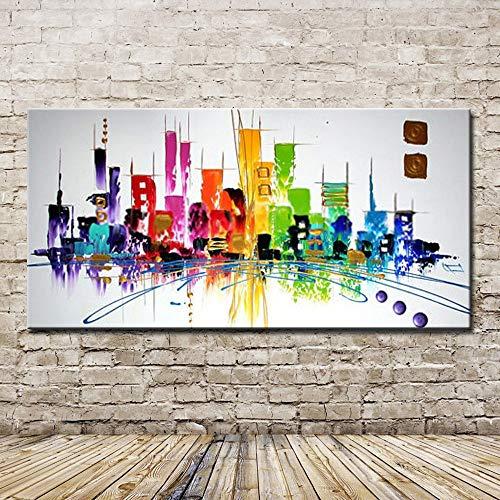 XIAOXINYUAN Pintura Al Óleo Pintada A Mano 100% Rayas Geométricas Coloreadas Imagen De Pared Moderna del Arte Abstracto De Decoración del Hogar Habitación 50×100Cm