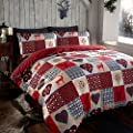 Stag Deer Patchwork Snowflake Hearts Red Grey Cream Animal Print Quilt Duvet Cover Bedding Set - low-cost UK light store.
