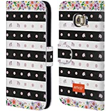 Official Emoji Stripes And Dots Unicorns Leather Book Wallet Case Cover For Samsung Galaxy S6 edge
