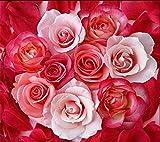 Mbwlkj Tapete Rote Rose Weiße Rosenblüten Moderne Badezimmer Custom 3D Boden Wandbild Rutschfeste Wasserdichte Verdickte Selbstklebende Bodenbelag-200cmx140cm