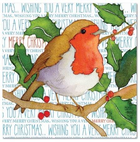 Wishing You A Very Merry Christmas–Little Christmas Robin auf Holly Ast–Emma Ball Design–Set von 6Christmas Greetings Karten und Umschläge, 12,5cm