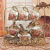 KHSKX In stile europeo bone china set da tè in ceramica creative tazza da caffè set per il tè del pomeriggio Britannico rosso piattino set coppe nazionali
