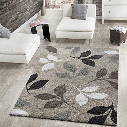 Tappeto moderno tappeto a pelo corto con foglie design screziato in beige marrone crema, polipropilene, 160 x 230 cm