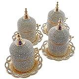Mocca-Tassen, handgefertigt mit Swarovski-Kristallen besetzt, für türkischen oder griechischen Kaffee, Espresso und Mocca, Tassen mit Untertasse, Halter und Deckel, 4 Stück