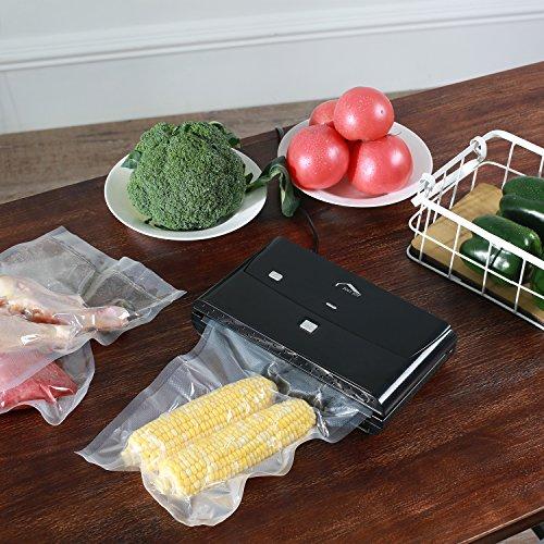 Joly Joy Vakuumierer 140W, 220mm Rollenbreite inkl. 10 Vakuumbeutel für Aufbewahrung von Nahrungsmitteln, Schwarz - 6