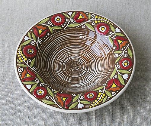 fatto-a-mano-in-ceramica-piatto-fondo-marrone-argilla-eco-friendly-artigianale-cucina-stoviglie
