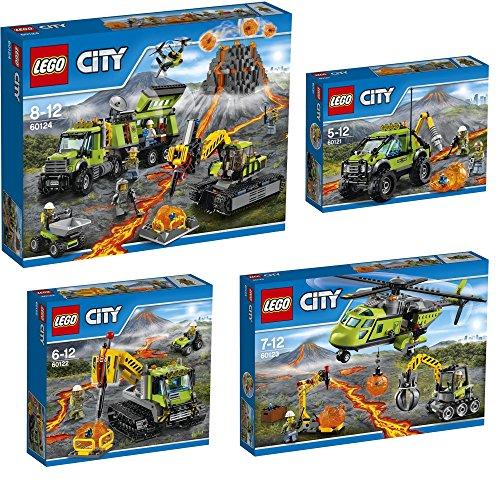 Lego-City-4pcs-set-60121-60122-60123-60124-Volcano-Exploration-Truck-Crawler-Supply-Helicopter-Exploration-Base