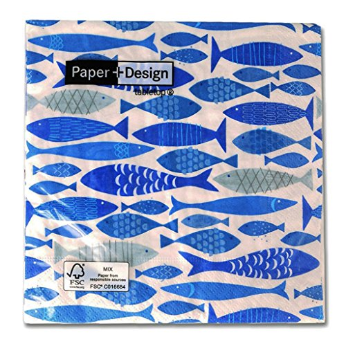 Perles & Co Serviettes en Papier Shoal of Fish 33 cm Bleu x20