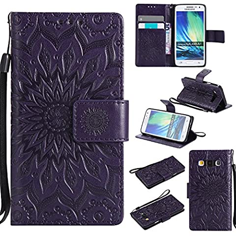 For Samsung Galaxy A3 Case [Purple],Cozy Hut [Wallet Case] Magnetic Flip Book Style Cover Case ,High Quality Classic New design Sunflower Pattern Design Premium PU Leather Folding Wallet Case With [Lanyard Strap] and [Credit Card Slots] Stand Function Folio Protective Holder Perfect Fit For Samsung Galaxy A3 2015 / SM-A300F 4.5 inch -