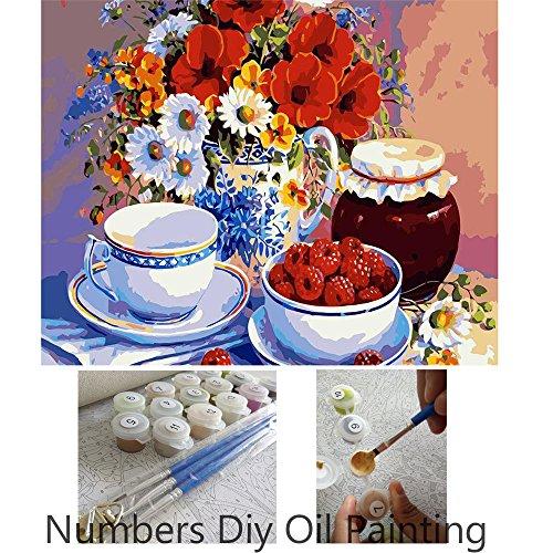 Aksuo dipingere con i numeri 16 x 20 pollici diy olio la pittura per bambini, studenti e adulti principianti - fiori e ciotole e fragoline di bosco ( senza telaio )