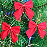Decorative Buckets:christmas Decorations : CHRISTMAS BOW : PACK OF 12| Christmas Tree Decorations |christmas Tree Hanging| Christmas Décor | Christmas Tree