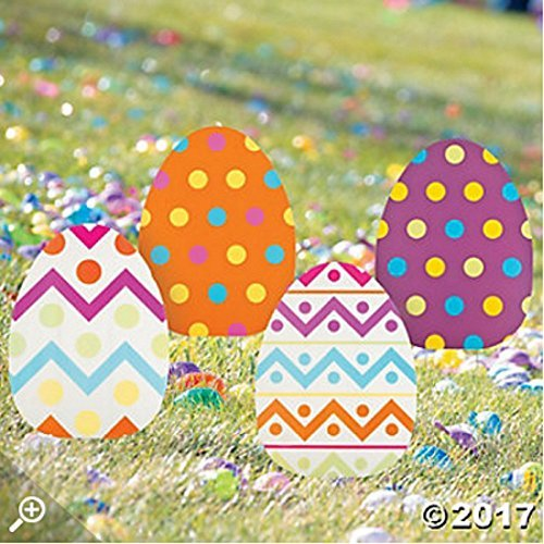 Impressions Assorties Lot DE 4 fantaisistes Coloré Grande Jumbo à Ressort œufs de Pâques Yard Sign Décoration de Jardin