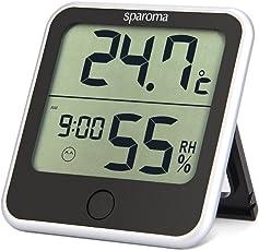 sparoma Thermo-Hygrometer digitales innen Thermometer mit Uhrzeit im Schlafzimmer Büro für Baby Erwachsener Alter