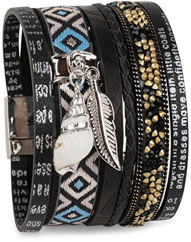 styleBREAKER Armband mit Feder und Muschel Anhänger, Strasssteine, Ethno Stoff, Print, Magnetverschluss, Damen 05040044, Farbe:Schwarz