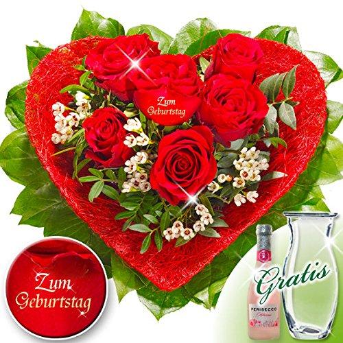 Rosenherz Zum Geburtstag mit Vase & Secco (Blumenstrauß Geburtstag Zum)