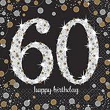 16 Servietten * SPARKLING 60. * für eine Party zum Geburtstag // Napkins sechzig sixty