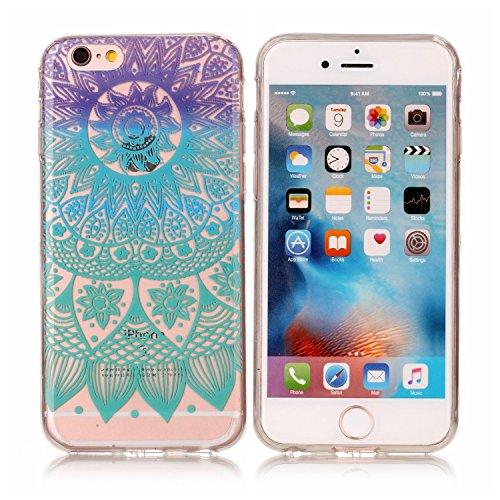 Per Apple iPhone 6,Sunrive® Custodia Cover Case in molle Trasparente Ultra Sottile TPU silicone Morbida Flessibile Pelle Antigraffio protettiva(Fiore rosso farfalla) Mandala blu