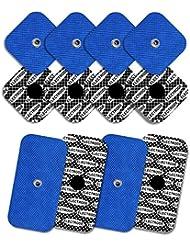 8 electrodos con 1 SNAP, 50 x 50 mm y 4 electrodos con 1 SNAP, 50 x 100mm, TENSPAD SILVER compatibles con COMPEX; Sanitas; Beurer; Hydas