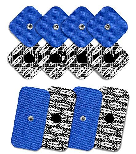 TENSPAD SILVER 8 electrodos con 1 Snap, 50 x 50 mm y 4 electrodos con 1 Snap, 50 x 100mm, compatibles con COMPEX