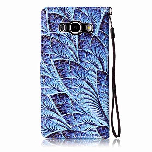 für Smartphone Samsung Galaxy J5 (2016) J510 Hülle, Leder Tasche für Samsung Galaxy J5 (2016) J510 Flip Cover Handyhülle Bookstyle mit Magnet Kartenfächer Standfunktion (+ Staubstecker ) (1OO) 4