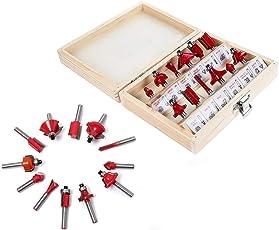 DeoDap,1/4 inch Shank Tungsten Carbide Router Bit Set Woodworking (12 PCS),(12pcs_router_bit_set, Multi-colour)