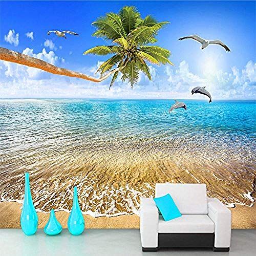 FSKJBZ Personnalisé Mur Papier Peint Vue Mer Plage Noix De Coco Arbres Dauphin Photo Fond Mur Peinture Salon 3D Peintures Murales Papier Peint @ 400cmx280cm