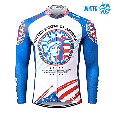 Thriller Rider Sports® Mens USA Flag Outdoor Sports Mountain Bike Winter Thermal Warm Long Sleeve Jacket