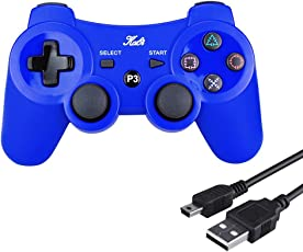 Kabi Wireless Controller Double Shock Gaming Controller 6-Achsen Bluetooth Gamepad Joystick mit kostenlosem Ladekabel für PS3 Controller für Playstation 3