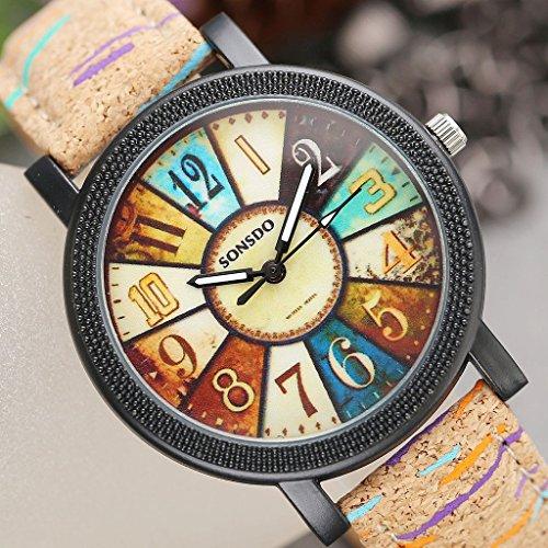 JSDDE Uhren,Retro Stil Tarnung Farbig Streifen Armbanduhr Vintage Damenuhr Holz Kork Muster PU Lederband Analog Quarzuhr - 4