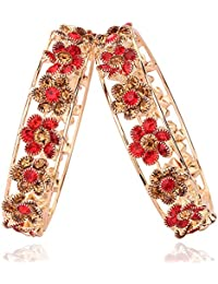 Beautiful & Glamourous Black Stone Flower Shape Bangle Set For Women & Girls On Festive & Wedding Occasions