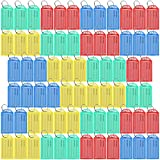 Lictin Pack of 70 Plastic Key Tags, Multi-color Key Fobs Luggage Tags Labels with Key Rings Fobs Luggage ID Label